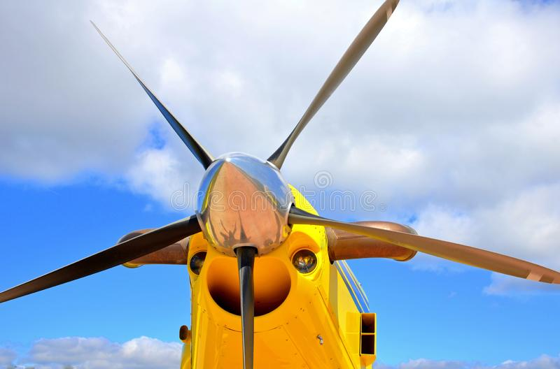 Aircraft propellers, motor with propeller blades stock images