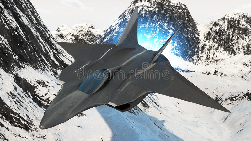 Aircraft prototype. Prototype of the future fighter aircraft invisible to radar rendered in 3d stock illustration