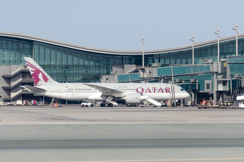 Aircraft Qatar Airlines in the parking lot at the airport royalty free stock photography