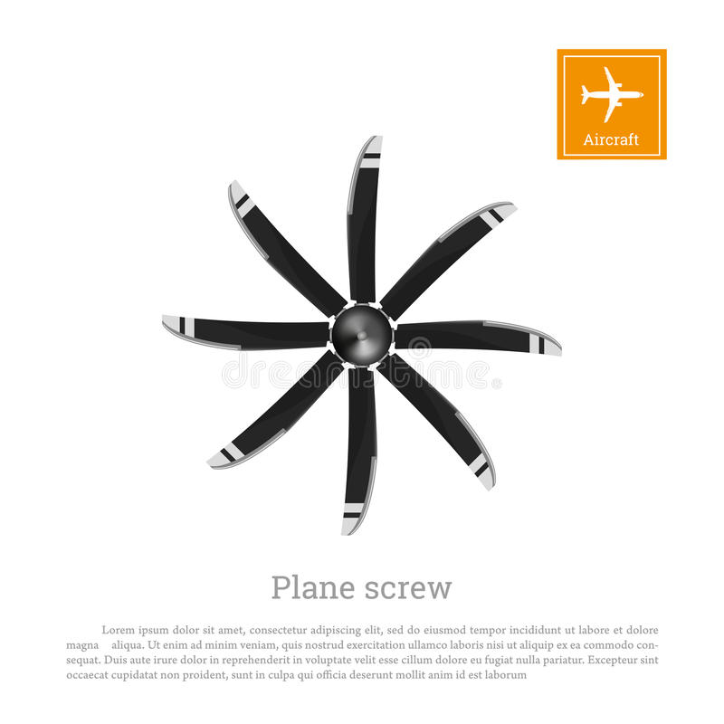Aircraft in flat style. Airplane propeller on white background. Airscrew with eight blades. Vector illustration stock illustration