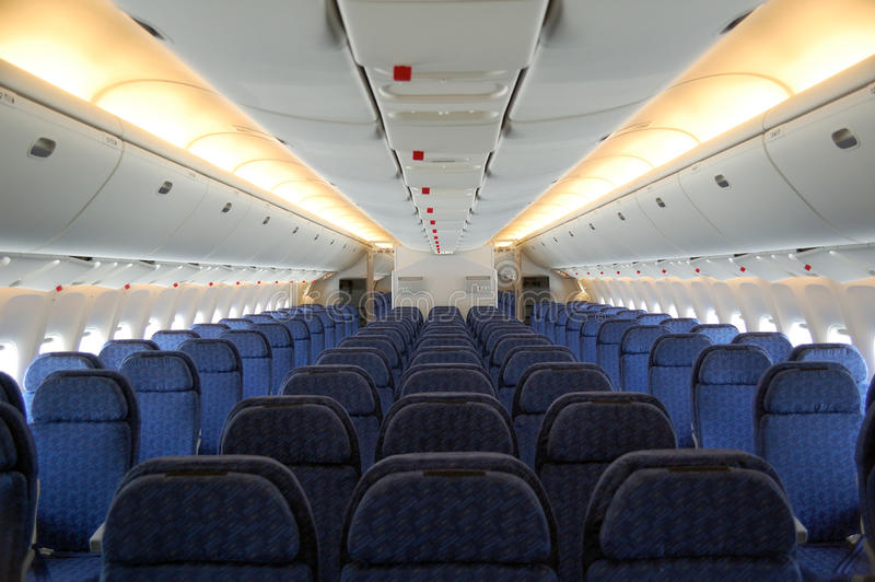 Aircraft Seats. Seats of the passenger aircraft cabin royalty free stock images
