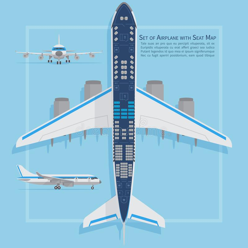 Aircraft seats plan top view. Business and economy classes airplane indoor information map. Vector illustration vector illustration