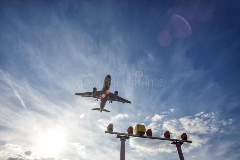 Aircraft shortly before landing on the runway. Aircraft shortly before landing on the final approach to the airport royalty free stock photography