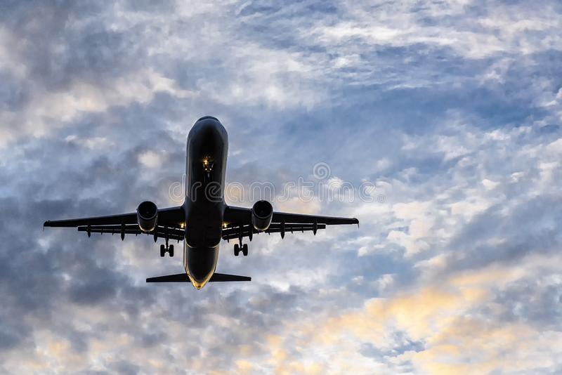 Aircraft shortly before landing on the runway. Aircraft shortly before landing on the final approach to the airport stock images