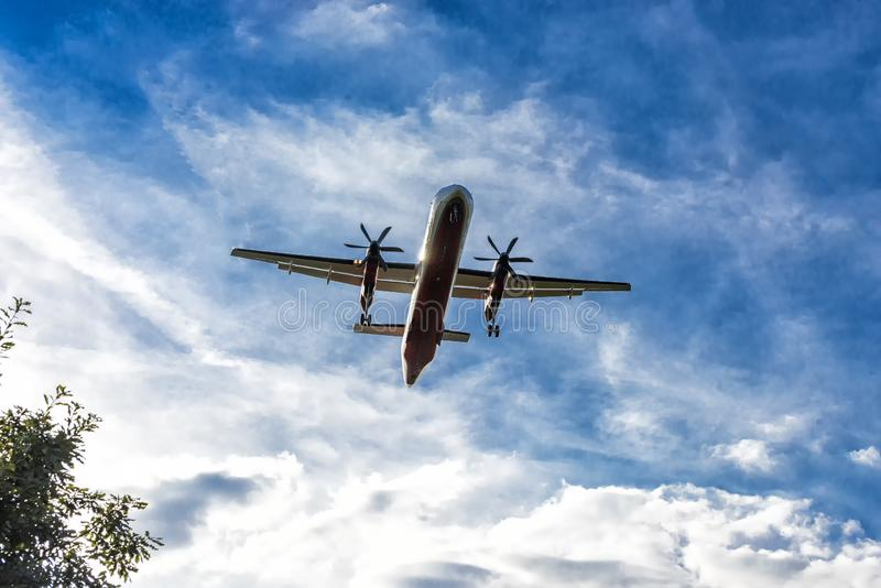 Aircraft shortly before landing on the runway. Aircraft shortly before landing on the final approach to the airport royalty free stock photos