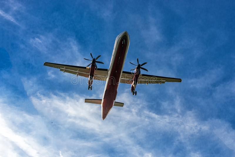 Aircraft shortly before landing on the runway. Aircraft shortly before landing on the final approach to the airport stock photography