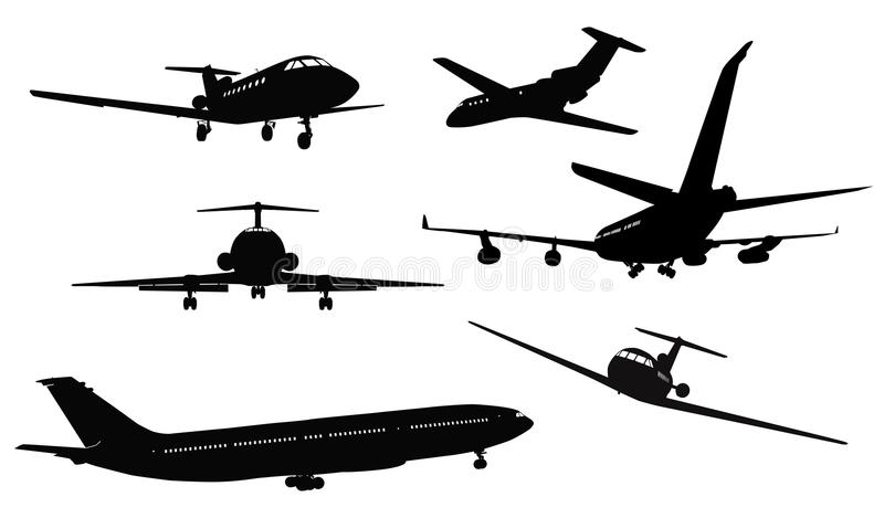 Aircraft silhouettes stock illustration