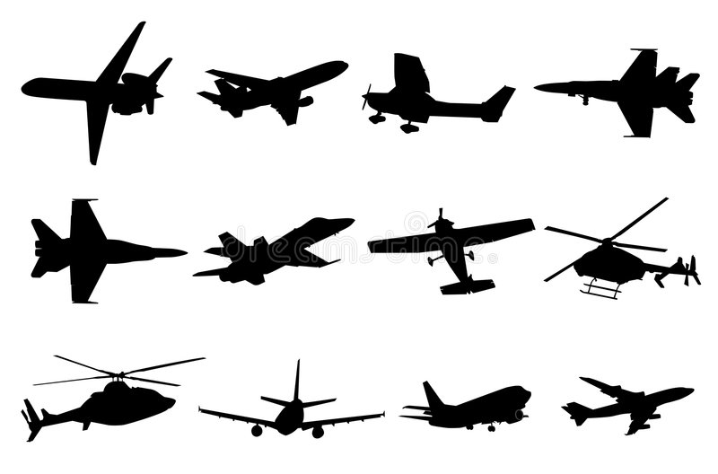 Aircraft silhouettes vector illustration