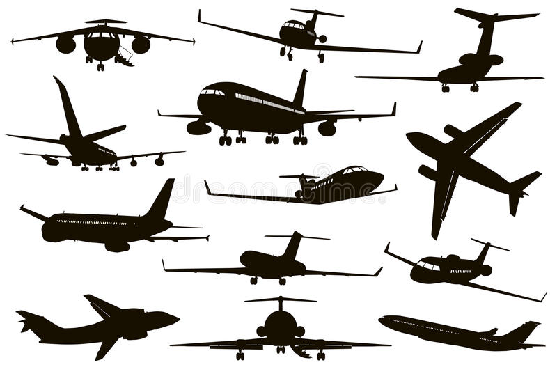 Aircraft silhouettes set vector illustration