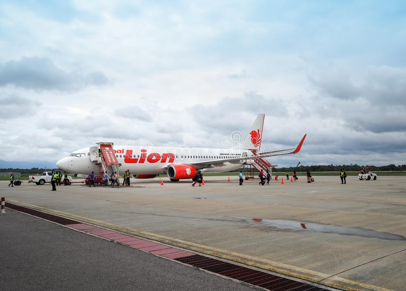 Aircraft of Thai Lion Airlines waiting for passengers stock photos