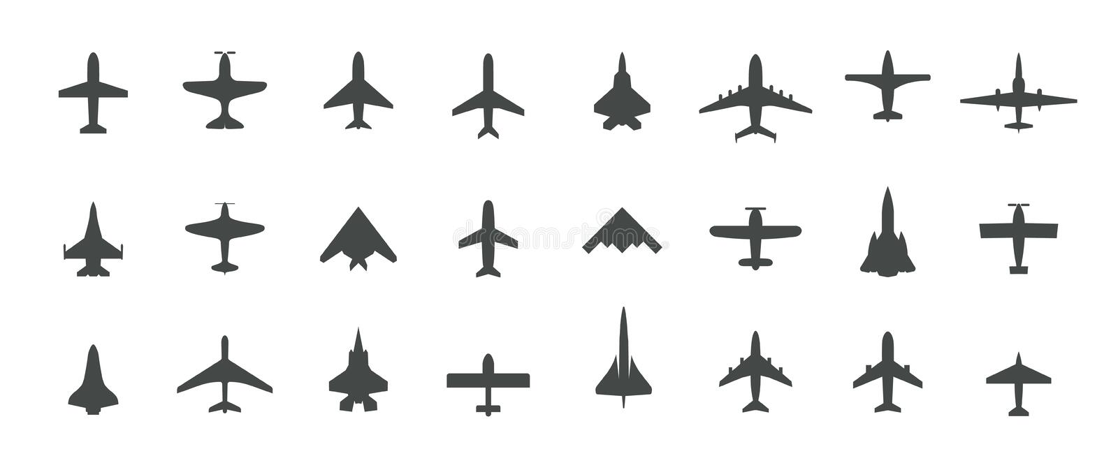 Aircraft top view icon set. Set of black silhouette airplanes, jets, airliners and retro planes icons. Isolated vector. Logos template on white background royalty free illustration