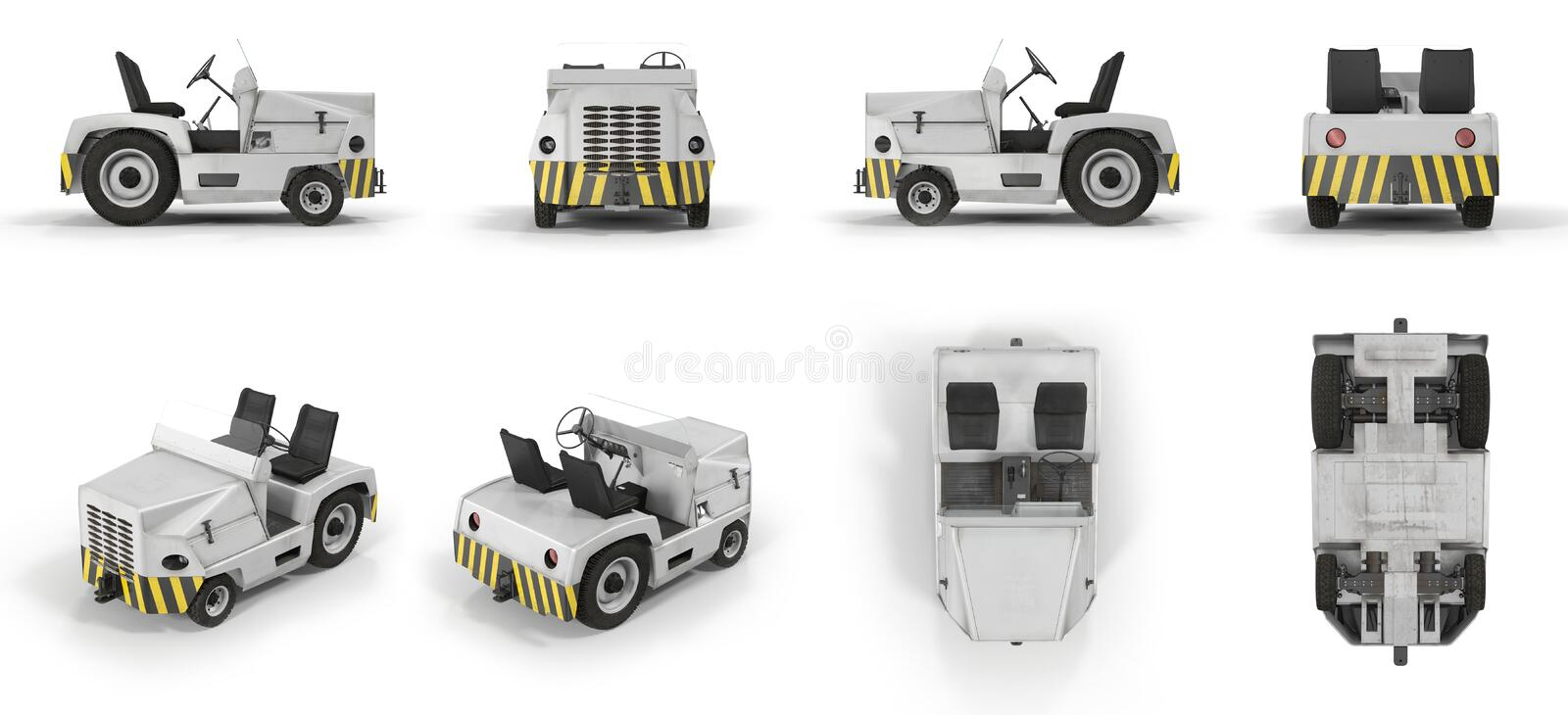 Aircraft Towing Tractor renders set from different angles on a white. 3D illustration. Aircraft Towing Tractor renders set from different angles on a white royalty free illustration