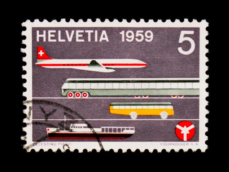 Aircraft, train, omnibus, ship and badge, Traffic House Luzern serie, circa 1959. MOSCOW, RUSSIA - SEPTEMBER 3, 2017: A stamp printed in Switzerland shows royalty free stock photos