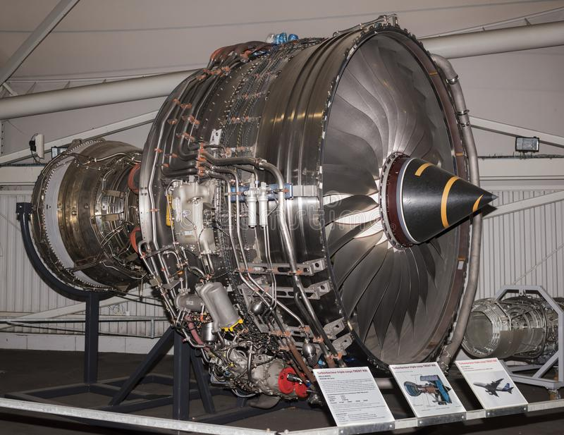 Aircraft turbofan engine with two contour engines 1991 in the. Le Bourget, Paris, France- May 04,2017: Triple body turbojet TRENT 900-Aircraft turbofan engine stock image