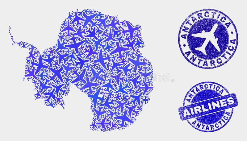 Airlines Collage Vector Antarctica Continent Map and Grunge Seals royalty free illustration
