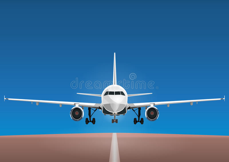 Aircraft vector, take-off plane against the background of the blue sky and the runway. Jet commercial airplane in full face. Air travel concept flying airliner royalty free illustration