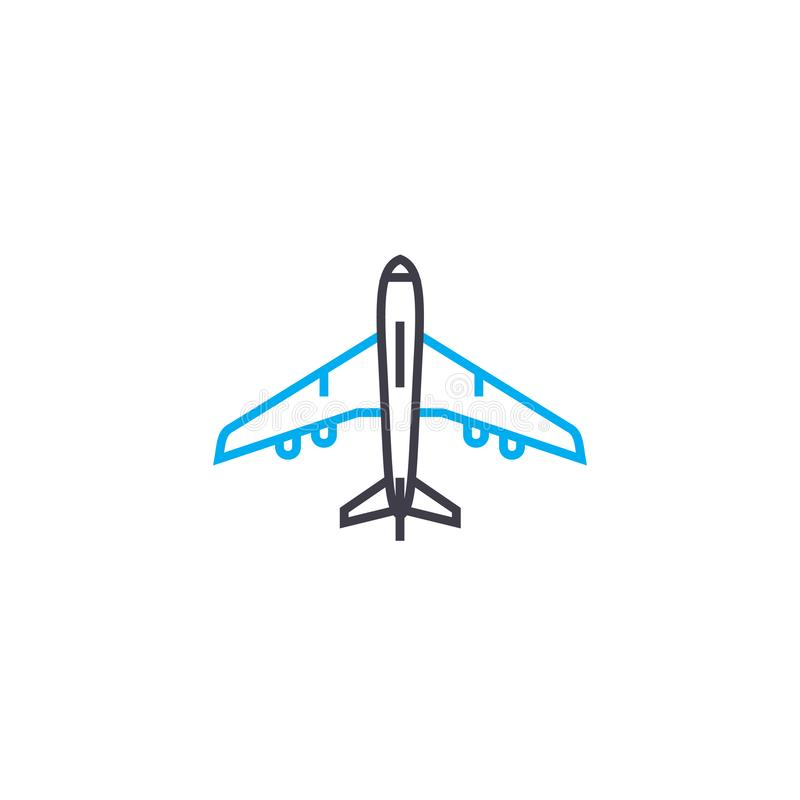 Aircraft vector thin line stroke icon. Aircraft outline illustration, linear sign, symbol concept. Aircraft vector thin line stroke icon. Aircraft outline royalty free illustration