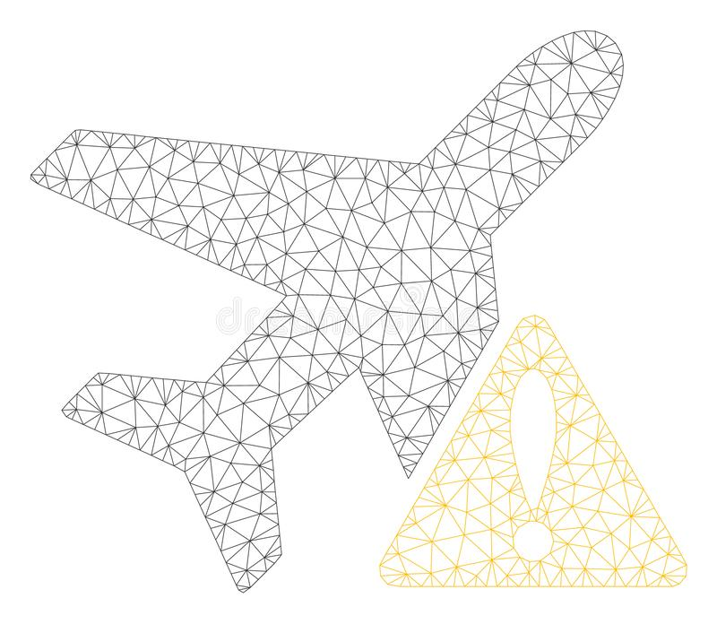 Aircraft Warning Polygonal Frame Vector Mesh Illustration vector illustration