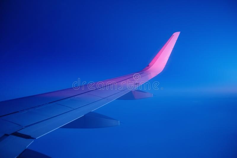 Aircraft wind on the sky background. Composition of aircraft. Air transportation. Travel - image royalty free stock photography