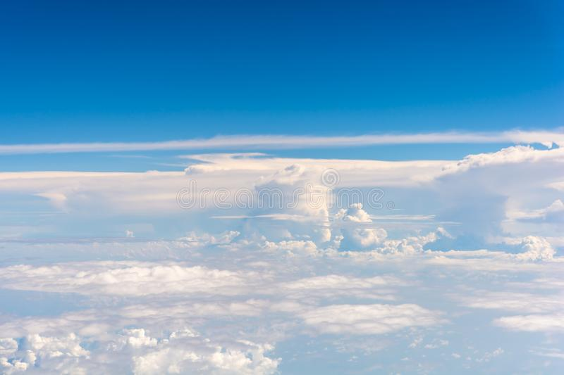 Aircraft window view for aerial transportation and travel concept. Nn royalty free stock images