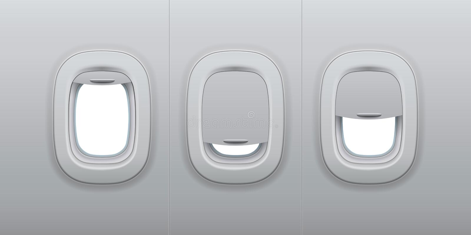 Aircraft windows. Airplane indoor portholes, plane interior window and fuselage glass porthole 3d vector illustration. Aircraft windows. Airplane indoor vector illustration