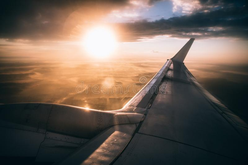 Aircraft, Wing, Airplane royalty free stock photography