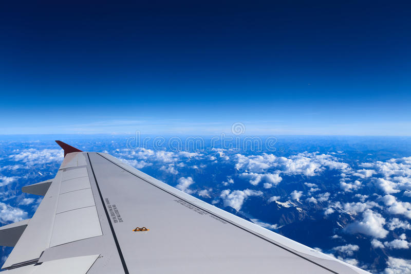 Download Aircraft wing on the sky stock image. Image of altitude - 26413643