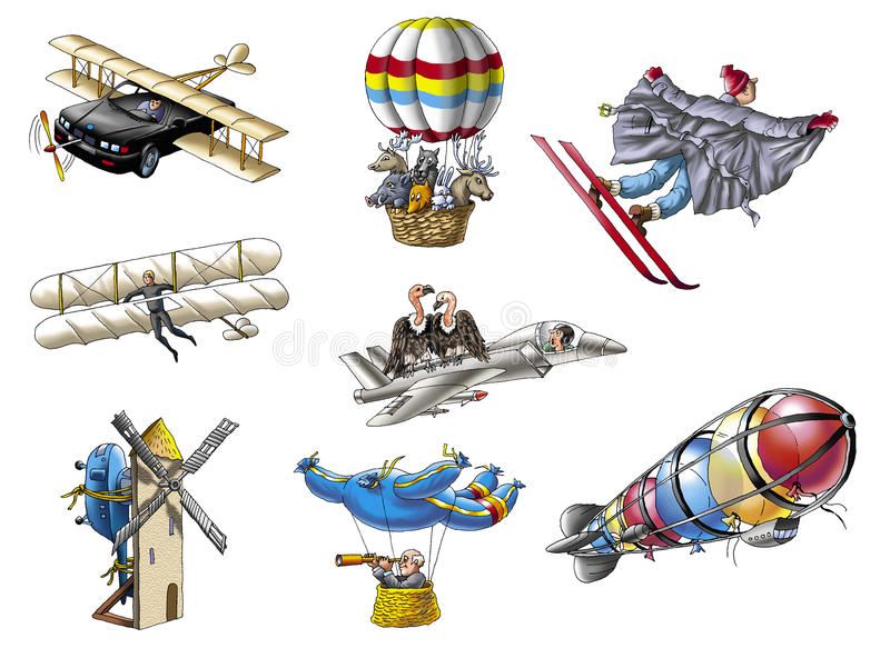 Aircrafts. Various flying machines. Hand drawings vector illustration