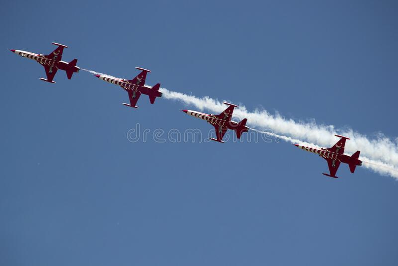 Aircrafts leaving jet traces. stock photography