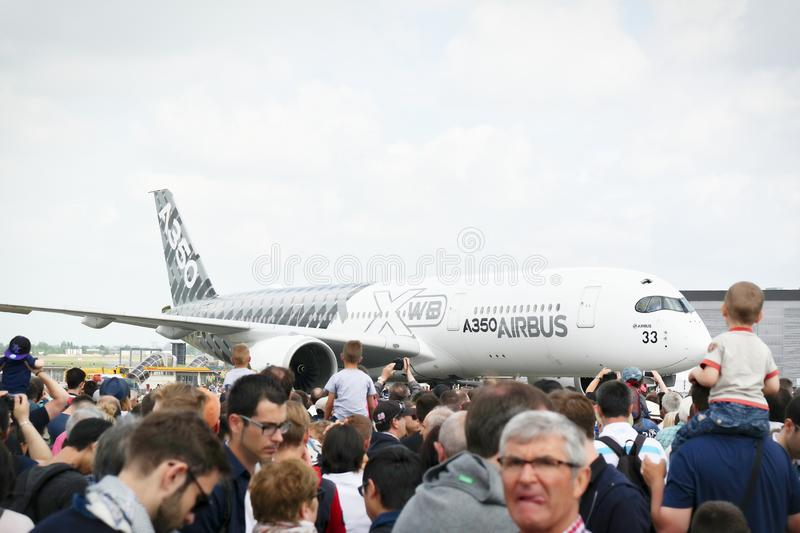 Aircrafts parked at meeting space in Paris Le Bourget during the Aeronautics and spatial international airshow and aviation. LE BOURGET, FRANCE - JUNE 24, 2017 stock images