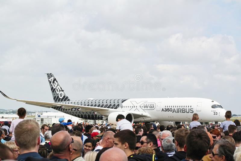 Aircrafts parked at meeting space in Paris Le Bourget during the Aeronautics and spatial international airshow and aviation. LE BOURGET, FRANCE - JUNE 24, 2017 stock image
