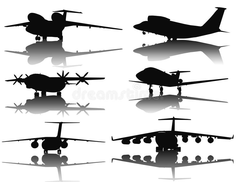 Aircrafts silhouettes vector illustration