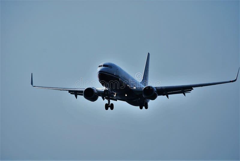 Aircraft starting its flight stock photos