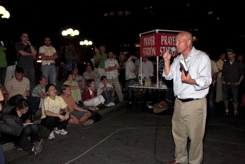 Aire abierto que predica en New York City imagen de archivo libre de regalías