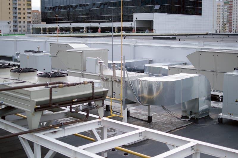 Aire acondicionado industrial, ventilación y sistemas refrigent fotos de archivo libres de regalías