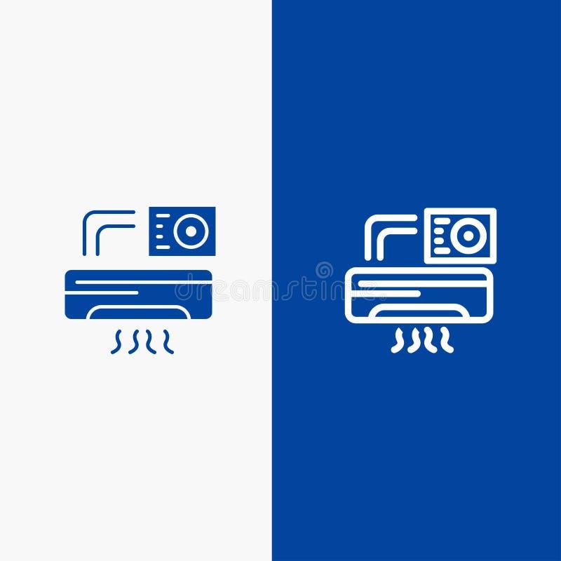 Aire, Aire-condición, bandera azul del icono sólido de la CA, de la línea del sitio y del Glyph ilustración del vector