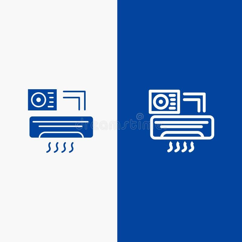Aire, Aire-condición, bandera azul del icono sólido de la CA, de la línea del sitio y del Glyph stock de ilustración