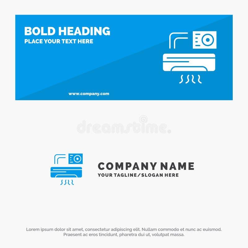 Aire, Aire-condición, CA, bandera sólida y negocio Logo Template de la página web del icono del sitio stock de ilustración