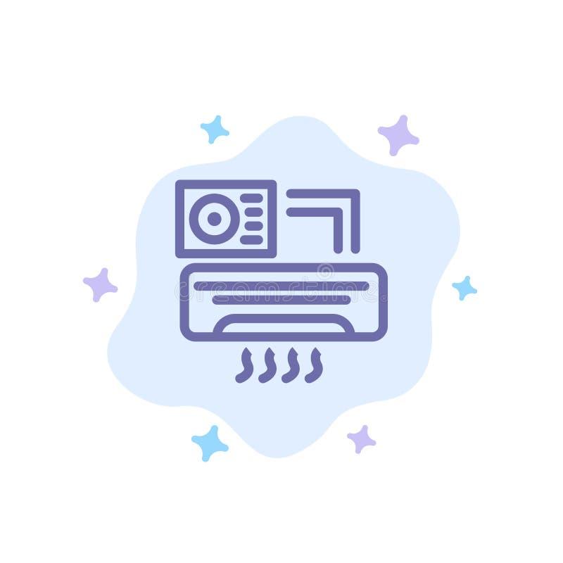 Aire, Aire-condición, CA, icono azul del sitio en fondo abstracto de la nube ilustración del vector