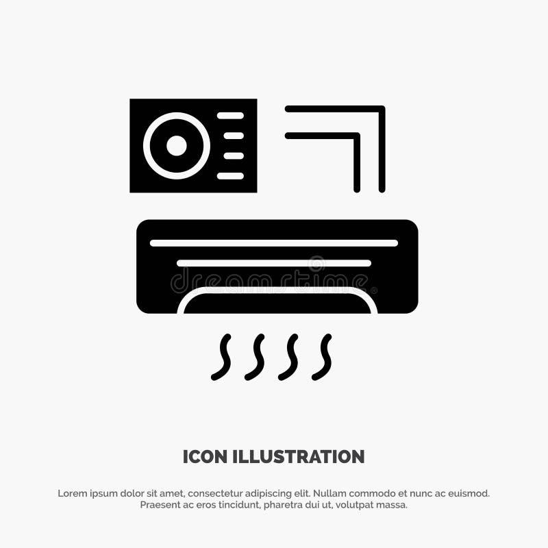 Aire, Aire-condición, CA, icono negro sólido del Glyph del sitio ilustración del vector
