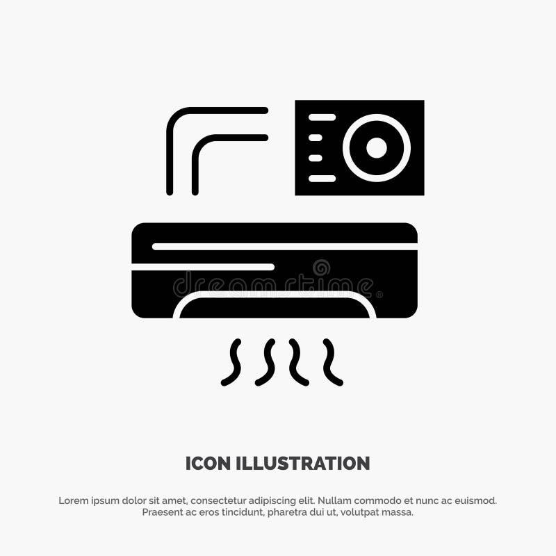 Aire, Aire-condición, CA, icono negro sólido del Glyph del sitio libre illustration