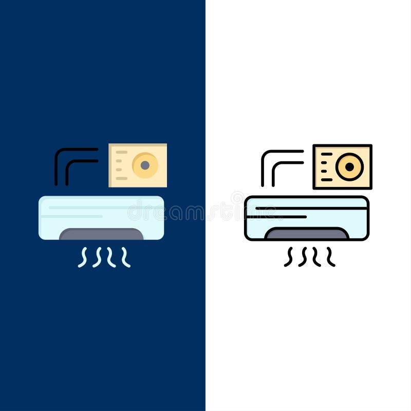 Aire, Aire-condición, CA, iconos del sitio El plano y la línea icono llenado fijaron el fondo azul del vector stock de ilustración