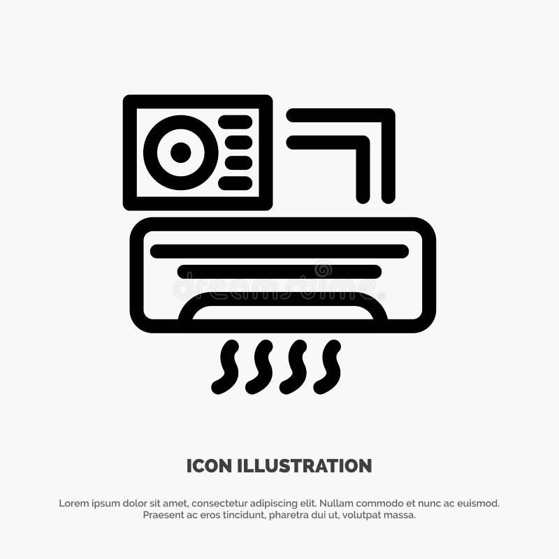 Aire, Aire-condición, CA, línea icono del vector del sitio libre illustration