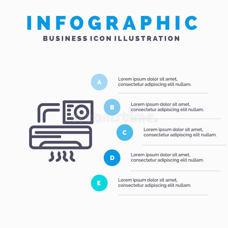 Aire, Aire-condición, CA, pasos azules de la plantilla 5 de Infographics del sitio L?nea plantilla del vector del icono libre illustration