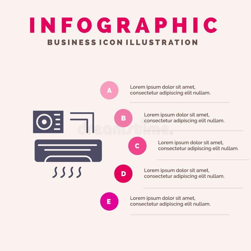 Aire, Aire-condición, CA, plantilla de la presentación de Infographics del sitio Presentación de 5 pasos stock de ilustración