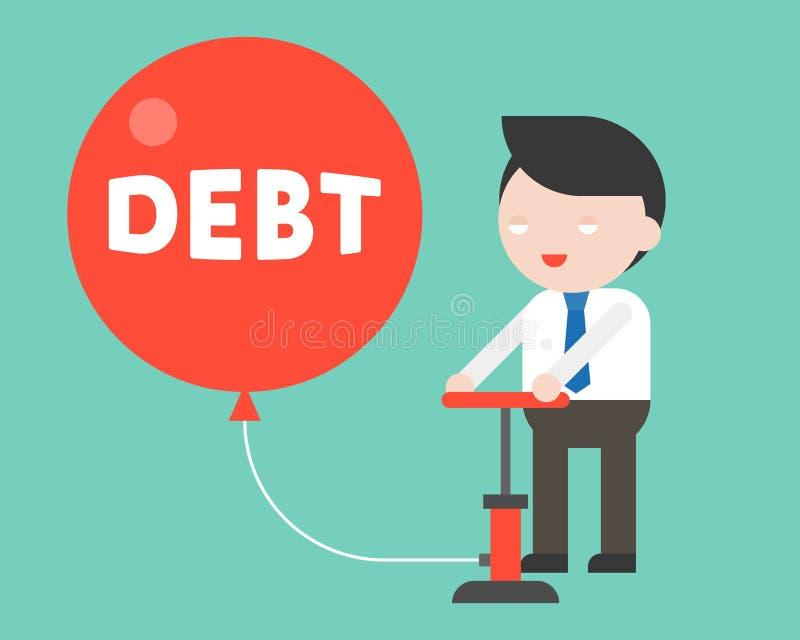 Aire de bombeo lindo del hombre de negocios en globo rojo de la deuda sin consci libre illustration
