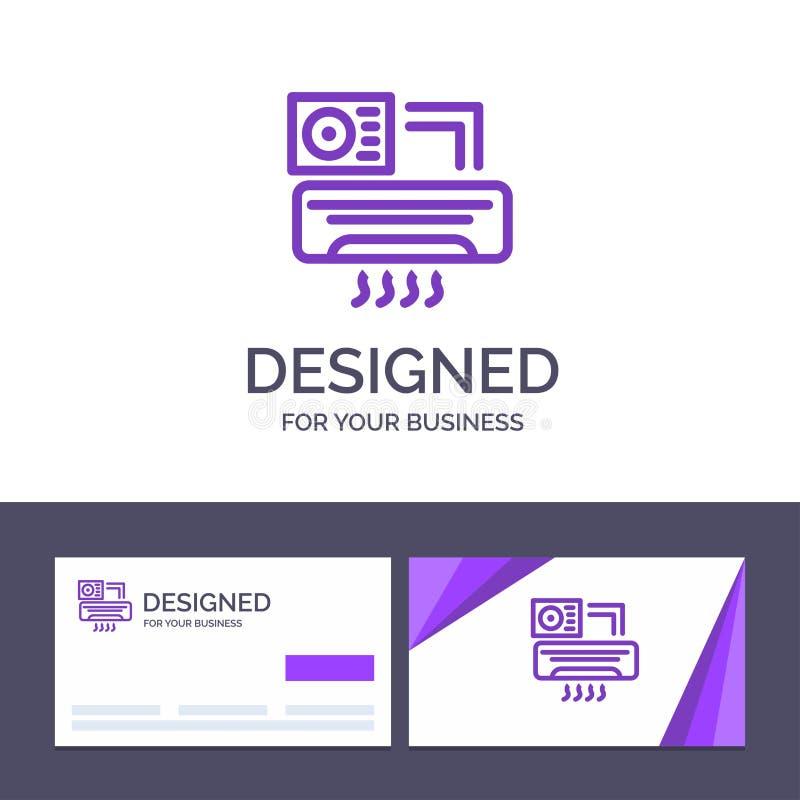 Aire de visita de la plantilla creativa de la tarjeta y del logotipo, Aire-condición, CA, ejemplo del vector del sitio ilustración del vector