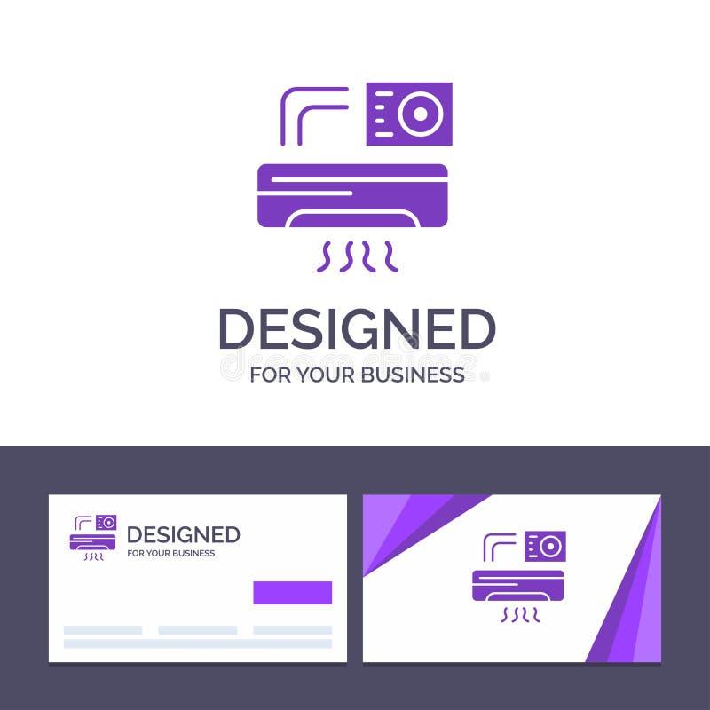 Aire de visita de la plantilla creativa de la tarjeta y del logotipo, Aire-condición, CA, ejemplo del vector del sitio stock de ilustración