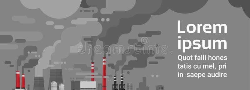 Aire inútil sucio del tubo de la planta de la contaminación de la naturaleza y ambiente contaminado agua libre illustration