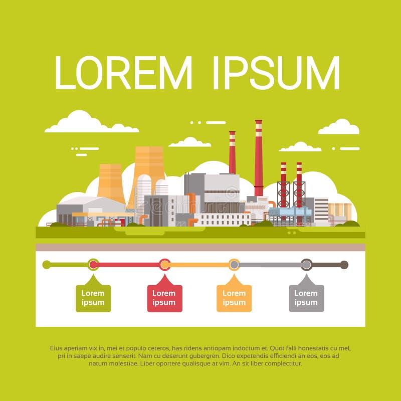Aire inútil sucio del tubo de la planta de la contaminación de la naturaleza y bandera contaminada agua de Infographic del ambien libre illustration